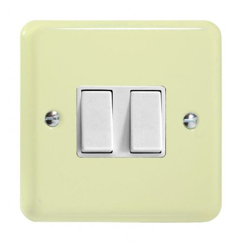 Varilight XY2W.WC Lily Pastel White Chocolate 2 Gang 10A 1 or 2 Way Rocker Light Switch